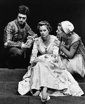 OTHELLO by Shakespeare director: Alfred Lynch <br> l-r: Michael Kitchen (Iago), Sally Anne Newton (Desdemona), Judy Wilson (Emilia) The Young Vic, London SE1 07/10/1975 (c) Donald Cooper/Photostage ph...