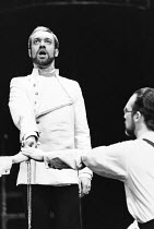 RICHARD II by Shakespeare design: Grant Hicks lighting: John B Read director: Robin Lefevre <br> Nickolas Grace (Richard II), Stuart Wilson (Bollingbroke) The Young Vic, London SE1 25/02/1981 (c) Dona...