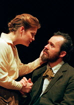 UNCLE VANYA by Anton Chekhov English version by David Lan design: Vicki Mortimer lighting: Paule Constable director: Katie Mitchell <br> Jo McInnes (Sonya), Stephen Dillane (Vanya) an RSC / Young Vi...