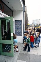 School children arriving for a performance of FAYRE PLAY at the Young Vic Theatre in 1978 <br> part of The Young Vic Education Service (YVES) programme (c) Donald Cooper/Photostage photos@photostage.c...