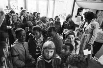 School children waiting in the foyer for a performance of FAYRE PLAY at the Young Vic Theatre in 1978 <br> part of The Young Vic Education Service (YVES) programme (c) Donald Cooper/Photostage photos@...