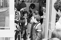 Cast member Micky O'Donoughue says goodbye to departing schoolchildren after the performance of FAYRE PLAY at the Young Vic Theatre in 1978 <br> part of The Young Vic Education Service (YVES) program...