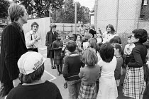 school workshop in 1978 with Young Vic company members Philip Bowen (left) and Kate Versey (pointing, right)<br> part of The Young Vic Education Service (YVES) programme (c) Donald Cooper/Photostage p...