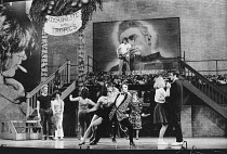 the company in GREASE at the New London Theatre, London WC2 26/06/1973 book, music & lyrics: Jim Jacobs & Warren Casey set design: Douglas W. Schmidt costumes: Carrie F. Robbins lighting: Robert Ornbo...