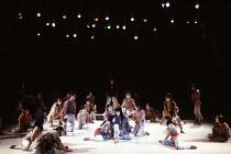 centre: Yuichiro Yamaguchi (Jesus Christ) in JESUS CHRIST SUPERSTAR at the Dominion Theatre, London W1 24/09/1991 music: Andrew Lloyd Webber lyrics: Tim Rice translation: Tokyo Iwatani & Keita Asari d...