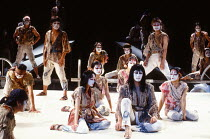 seated front right: Yuichiro Yamaguchi (Jesus Christ) in JESUS CHRIST SUPERSTAR at the Dominion Theatre, London W1 24/09/1991 music: Andrew Lloyd Webber lyrics: Tim Rice translation: Tokyo Iwatani & K...