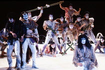 front right: Yuichiro Yamaguchi (Jesus Christ) in JESUS CHRIST SUPERSTAR at the Dominion Theatre, London W1 24/09/1991 music: Andrew Lloyd Webber lyrics: Tim Rice translation: Tokyo Iwatani & Keita As...
