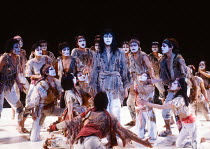 centre: Yuichiro Yamaguchi (Jesus Christ) in JESUS CHRIST SUPERSTAR at the Dominion Theatre, London W1 24/09/1991 music: Andrew Lloyd Webber lyrics: Tim Rice translation: Tokyo Iwatani & Keita Asari d...