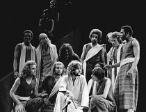 front centre: Paul Nicholas (Jesus) with disciples in JESUS CHRIST SUPERSTAR at the Palace Theatre, London W1 09/08/1972  music: Andrew Lloyd Webber lyrics: Tim Rice set design: Brian Thomson cost...