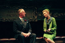 Jeremy Child (Sir Andrew Charleson), Cate Blanchett (Susan Traherne) in PLENTY by David Hare at the Albery Theatre, London WC2 27/04/1999  an AlmeidaTheatre Company production design: Maria Bjorns...