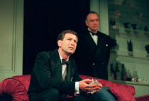 l-r: Julian Wadham (Raymond Brock), Richard Johnson (Sir Leonard Darwin) in PLENTY by David Hare at the Albery Theatre, London WC2 27/04/1999  an AlmeidaTheatre Company production design: Maria Bj...