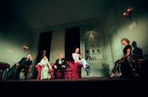 l-r: Richard Johnson (Sir Leonard Darwin), (rear) Julian Wadham (Raymond Brock), Jacqui Chan (Mme. Aung), Burt Kwouk (M. Aung), Cate Blanchett (Susan Traherne), Debra Gillett (Alice Park) in PLENTY by...