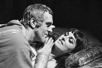 John Turner (Antony), Barbara Jefford (Cleopatra) in ANTONY AND CLEOPATRA by Shakespeare at the Nottingham Playhouse, Nottingham, England 10/1966
