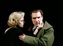 Emilia Fox (Virgilia), Ralph Fiennes (Coriolanus) in CORIOLANUS by Shakespeare at the Gainsborough Studios, London N1 14/06/2000  an Almeida Theatre production design: Paul Brown lighting: Mark He...