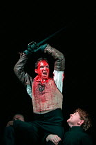Ralph Fiennes (Coriolanus) in CORIOLANUS by Shakespeare at the Gainsborough Studios, London N1 14/06/2000  an Almeida Theatre production design: Paul Brown lighting: Mark Henderson fights: William...