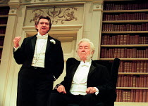 AN IDEAL HUSBAND by Oscar Wilde design: Carl Toms lighting: Joe Atkins director: Peter Hall <br> l-r: Martin Shaw (Lord Goring), Michael Denison (The Earl of Caversham) a Peter Hall Company pr...