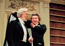 AN IDEAL HUSBAND by Oscar Wilde design: Carl Toms lighting: Joe Atkins director: Peter Hall <br> l-r: Michael Denison (The Earl of Caversham), Martin Shaw (Lord Goring)  a Peter Hall Company p...