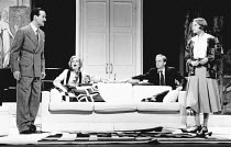 PRIVATE LIVES by Noel Coward set design: Tim Goodchild costumes: Norman Coates lighting: Jon Linstrum director: Lou Stein <br> l-r: Christopher Bowen (Victor), Caroline Langrishe (Amanda), Patrick...