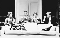 PRIVATE LIVES by Noel Coward set design: Tim Goodchild costumes: Norman Coates lighting: Jon Linstrum director: Lou Stein <br> l-r: Caroline Langrishe (Amanda), Christopher Bowen (Victor), Lucy Ro...