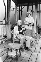 THE OLD COUNTRY by Alan Bennett design: John Gunter lighting: Leonard Tucker director: Clifford Williams <br> Alec Guinness (Hilary), Rachel Kempson (Bron) Queen's Theatre, London W1 07/09/197...
