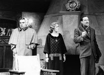 ON APPROVAL by Frederick Lonsdale design: Norman Coates lighting: Leonard Tucker director: David Gilmore <br> l-r: Jeremy Sinden (Duke of Bristol), Paula Wilcox (Maria Wislack), Robin Kermode (Ric...