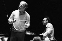Bernard Haitink and Alfred Brendel rehearsing a Liszt piano concerto with the London Philharmonic Orchestra (LPO) in the Royal Festival Hall, London, May 1972