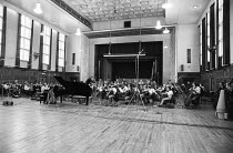 Bernard Haitink (conductor) and Alfred Brendel (piano soloist) at a Philips recording session of the Liszt piano concertos with the London Philharmonic Orchestra (LPO) in the Assembly Hall at Walthams...