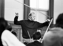 Bernard Haitink conducting a Philips recording session of the Liszt piano concertos with the London Philharmonic Orchestra (LPO) in the Assembly Hall at Walthamstow Town Hall, Walthamstow, London in M...