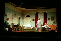 ENJOY by Alan Bennett design: Lez Brotherston lighting: Mark Ridler director: Jeremy Sams <br> l-r: Stephen Noonan (Ms Craig), Anne Reid (Connie Craven / Mam), James Bolam (Wilfred Craven / Dad)&#...
