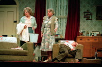 ENJOY by Alan Bennett design: Lez Brotherston lighting: Mark Ridler director: Jeremy Sams <br> l-r: Anne Reid (Connie Craven / Mam), Rhoda Lewis (Mrs Clegg), James Bolam (Wilfred Craven / Dad)&#xA...