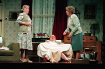 ENJOY by Alan Bennett design: Lez Brotherston lighting: Mark Ridler director: Jeremy Sams <br> l-r: Rhoda Lewis (Mrs Clegg), James Bolam (Wilfred Craven / Dad), Anne Reid (Connie Craven / Mam)&#xA...
