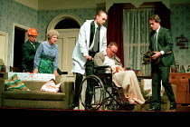 ENJOY by Alan Bennett design: Lez Brotherston lighting: Mark Ridler director: Jeremy Sams <br> Dad is wheeled away - left: Anne Reid (Connie Craven / Mam) (in wheelchair) James Bolam (Wilfred Crav...