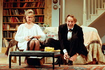GETTING ON by Alan Bennett design: Douglas Heap lighting: Leonard Tucker director: Roger Smith <br> Serena Evans (Polly Oliver), Clive Francis (George Oliver) Palace Theatre, Watford, England...