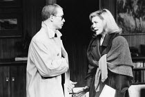 Stephen Jenn (Bravo) and Faye Dunaway (Circe) in CIRCE & BRAVO by Donald Freed at the Hampstead Theatre, London NW3 05/06/1986 <br> set design: Eileen Diss costumes: Jane Robinson lighting: Mick H...