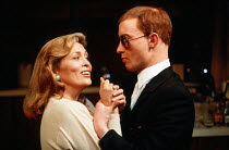 Faye Dunaway (Circe) and Stephen Jenn (Bravo) in CIRCE & BRAVO by Donald Freed at the Hampstead Theatre, London NW3 05/06/1986 <br> set design: Eileen Diss costumes: Jane Robinson lighting: Mick H...