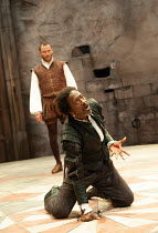 l-r: Dominic West (Iago), Clarke Peters (Othello) in OTHELLO by Shakespeare at the Crucible Theatre, Sheffield, England 20/09/2011  design: Morgan Large lighting: Lucy Carter director: Daniel Evan...