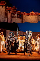 DON QUIXOTE by Massenet conductor: Emmanuel Joel set design: John Gunter costumes: Deirdre Clancy lighting: Simon Tapping choreography: Lindsay Dolan director: Ian Judge <br> l-r: Alan Opie (Sanch...
