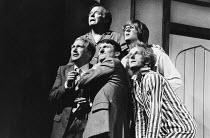 DONKEY'S YEARS by Michael Frayn design: Alan Tagg lighting: Ken Miller director: Michael Rudman <br> l-r, rear: Peter Barkworth (C D B P Headingley), John Harding (W R Taylor) front: Jeffry Wickha...