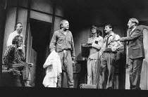 DONKEY'S YEARS by Michael Frayn design: Alan Tagg lighting: Ken Miller director: Michael Rudman <br> l-r: (front) Julian Curry (A V Quine), Harold Innocent (The Rev R D Sainsbury), Peter Barkworth...
