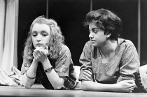l-r: Lesley Manville (Susan), Rita Wolf (Amina) in BORDERLINE by Hanif Kureishi at the Royal Court Theatre, London SW1 05/11/1981  a co-production with the Joint Stock Theatre Group design: Peter...