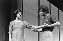 Rita Wolf (Amina), Vincent Ebrahim (Haroon) in BORDERLINE by Hanif Kureishi at the Royal Court Theatre, London SW1 05/11/1981  a co-production with the Joint Stock Theatre Group design: Peter Hart...