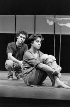 Vincent Ebrahim (Haroon), Rita Wolf (Amina) in BORDERLINE by Hanif Kureishi at the Royal Court Theatre, London SW1 05/11/1981  a co-production with the Joint Stock Theatre Group design: Peter Hart...