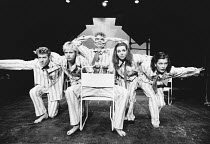 l-r: Richard Jobson, Emma Relph, Tim Potter, Yonnie Howgill, Kate McKenzie in THE DOG BENEATH THE SKIN by W.H. Auden & Christopher Isherwood at the New Half Moon Theatre, London E1 19/11/1981  set...