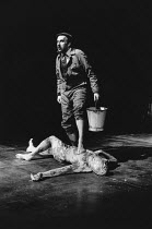 Christopher Benjamin (Archie Gross), Tom Mannion (The Body) in THE BODY by Nick Darke at the Royal Shakespeare Company (RSC), The Pit, Barbican Centre, London EC2 29/04/1983  design: Dermot Hayes...