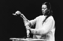Jenny Agutter (Grace Gross) in THE BODY by Nick Darke at the Royal Shakespeare Company (RSC), The Pit, Barbican Centre, London EC2 29/04/1983  design: Dermot Hayes lighting: Michael Calf director:...
