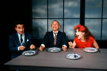 l-r: Henry Goodman, Steven Berkoff and Anita Dobson in KVETCH by Steven Berkoff at the Garrick Theatre, London WC2 08/10/1991  design: Silvia Jahnsons director: Steven Berkoff