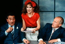 l-r: Henry Goodman, Anita Dobson and Steven Berkoff in KVETCH by Steven Berkoff at the Garrick Theatre, London WC2 08/10/1991  design: Silvia Jahnsons director: Steven Berkoff