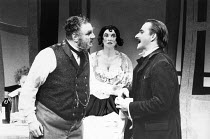 l-r: Terence Rigby (Captain Perella), Marion Bailey (Mrs Perella), Trevor Eve (Paolino) in MAN, BEAST AND VIRTUE by Luigi Pirandello at the Cottesloe Theatre, National Theatre (NT), London 07/09/1989...