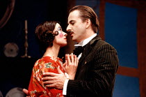 Marion Bailey (Mrs Perella), Trevor Eve (Paolino) in MAN, BEAST AND VIRTUE by Luigi Pirandello at the Cottesloe Theatre, National Theatre (NT), London 07/09/1989  in a new version by Charles Wood...