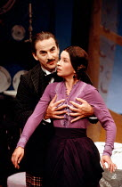 Trevor Eve (Paolino), Marion Bailey (Mrs Perella) in MAN, BEAST AND VIRTUE by Luigi Pirandello at the Cottesloe Theatre, National Theatre (NT), London 07/09/1989  in a new version by Charles Wood...